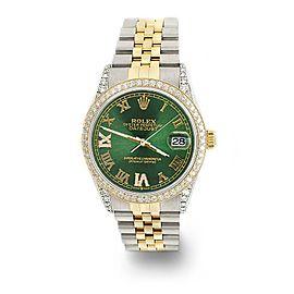 Rolex Datejust 2-Tone 36mm 1.4ct Diamond Bezel/Lugs/Royal Green Roman Dial Watch