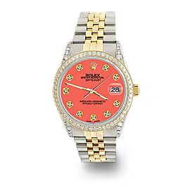 Rolex Datejust 2-Tone 36mm 1.4ct Diamond Bezel/Lugs/Matt Coral Dial Watch