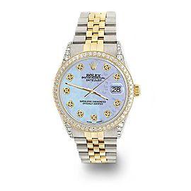 Rolex Datejust 2-Tone 36mm 1.4ct Diamond Bezel/Lugs/Purple MOP Dial Watch