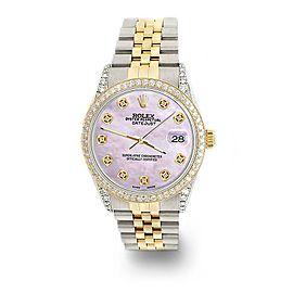 Rolex Datejust 2-Tone 36mm 1.4ct Diamond Bezel/Lugs/Pink Pearl Dial Watch