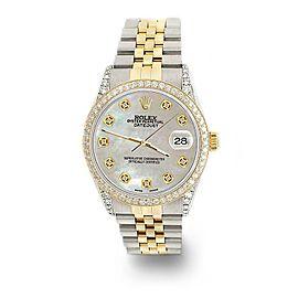Rolex Datejust 2-Tone 36mm 1.4ct Diamond Bezel/Lugs/Champagne MOP Dial Watch