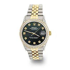Rolex Datejust 2-Tone 36mm 1.4ct Diamond Bezel/Lugs/Black MOP Dial Jubilee Watch
