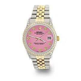 Rolex Datejust 2-Tone 36mm 1.4ct Diamond Bezel/Lugs/Hot Pink Dial Jubilee Watch
