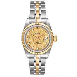 Tudor Princess Date Steel Yellow Gold Champagne Diamond Dial Watch