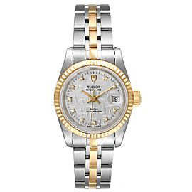 Tudor Princess Date Steel Yellow Gold Silver Diamond Dial Ladies Watch