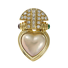 18K Yellow Gold Mobe Pearl Ruby Emerald Diamond Pendant