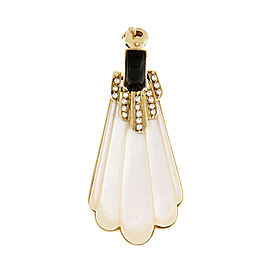 18k Yellow Gold Mother Of Pearl Onyx Diamond Pendant