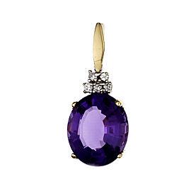 Estate Fine Purple Amethyst Enhancer Pendant 14k Gold Diamond