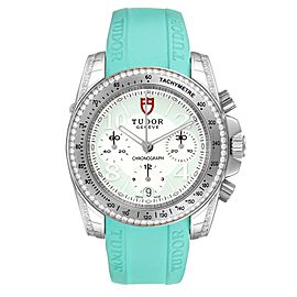 Tudor Grantour Turquoise Strap Steel Diamond Ladies Watch 20310 Unworn