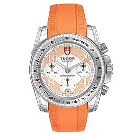 Tudor Grantour Orange Strap Steel Diamond Ladies Watch 20310 Unworn