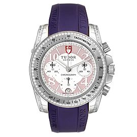 Tudor Grantour Purple Strap Steel Diamond Ladies Watch 20310 Unworn