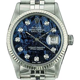 Rolex Datejust 16014 Stainless Steel and White Gold with Metiorite Diamond Dial 36mm Unisex Watch
