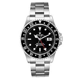 Rolex GMT Master II Black Bezel Steel Mens Watch 16710