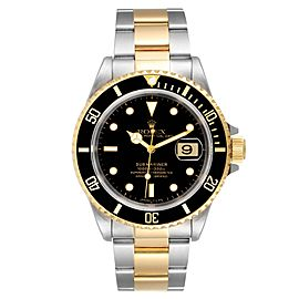Rolex Submariner Black Dial Steel Yellow Gold Mens Watch