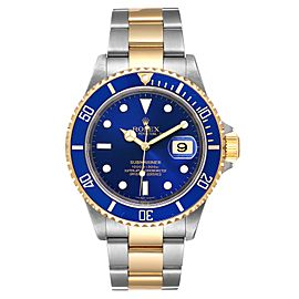 Rolex Submariner Blue Dial Steel Yellow Gold Mens Watch