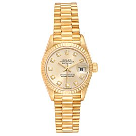 Rolex President Datejust Yellow Gold Diamond Dial Ladies Watch
