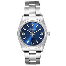 Rolex Air King 34 Blue Baton Dial Domed Bezel Steel Mens Watch
