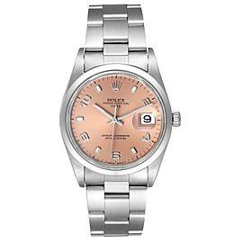 Rolex Date Salmon Dial Oyster Bracelet Steel Mens Watch