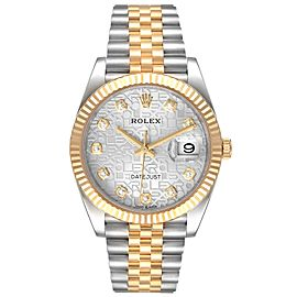 Rolex Datejust Steel Yellow Gold Diamond Dial Mens Watch 126233 Box Card