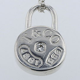 TIFFANY & Co. silver/1p diamond 1837 Round Lock Necklace