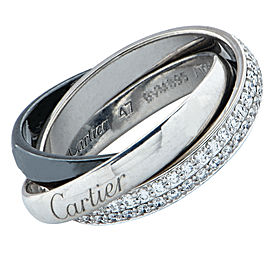 Cartier Trinity De Cartier Ring 18K White Gold and Ceramic with 0.45ct Diamond Size 4