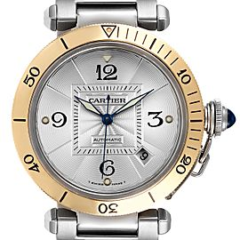 Cartier Pasha 38mm Steel Yellow Gold Silver Dial Mens Watch 2378