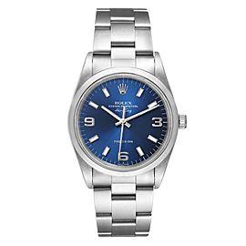 Rolex Air King 34 Blue Baton Dial Domed Bezel Steel Mens Watch