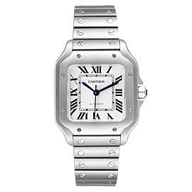 Cartier Santos Silver Dial Medium Steel Mens Watch
