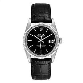 Rolex Datejust Vintage Steel White Gold Black Dial Mens Watch