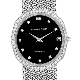 Audemars Piguet White Gold Black Dial Diamond Vintage Mens Watch
