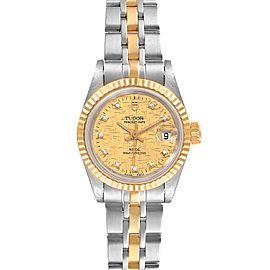 Tudor Princess Date Steel Yellow Gold Diamond Ladies Watch 225033 Papers