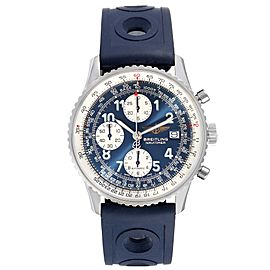 Breitling Navitimer II Blue Dial Chronograph Steel Watch A13322 Box Papers