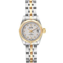 Tudor Princess Date Steel Yellow Gold Silver Diamond Dial Watch 92513