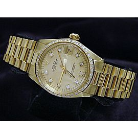 Mid Size Rolex Yellow Gold Date President Diamond 6827