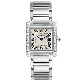 Cartier Tank Francaise Midsize Diamond Steel Ladies Watch W4TA0009 Box Card