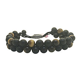 David Yurman Sterling Silver with Wood Beads and Tiger's Eye Spirit Bracelet
