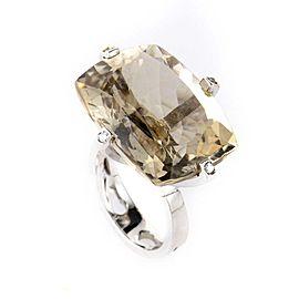 18K White Gold Smokey Topaz Ring Size 7.0