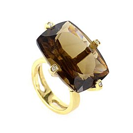 18K Yellow Gold with Smoky Topaz and Diamond Ring Size 7