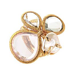18K Rose Gold with Quartz and Pearl Ring Size 6