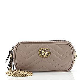 Gucci GG Marmont Triple Zip Chain Bag Matelasse Leather Mini
