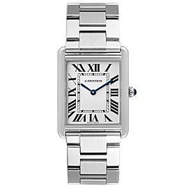 Cartier Tank Solo Silver Dial Steel Mens Watch W5200014