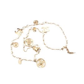 Chanel Gold-Tone Simulated Glass Pearl Snap and Hook and Eye Charm Vintage Necklace