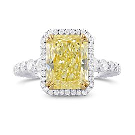 Leibish 18K Yellow and White Gold with 5.83ctw Diamond Halo Ring Size 6.75
