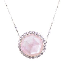 Laura Munder 18K White Gold Pink Mother of Pearl & Amethyst Pendant Necklace
