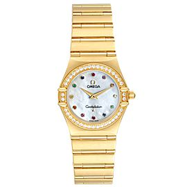 Omega Constellation Iris Yellow Gold Multi Stone Watch