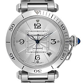 Cartier Pasha 38mm Silver Dial Automatic Steel Mens Watch W31059H3