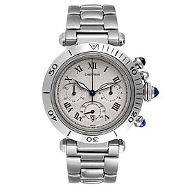 Cartier Pasha Chronograph Silver Dial Steel Mens Watch W31018H3