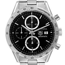 Tag Heuer Carrera Steel Black Dial Chronograph Mens Watch CV2016