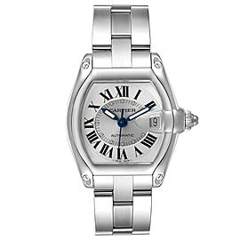 Cartier Roadster Silver Roman Dial Steel Mens Watch W62000V3