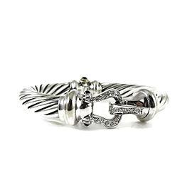 David Yurman Sterling Silver & 18K White Gold 0.46tcw Diamond Thoroughbred Cable Buckle Bracelet